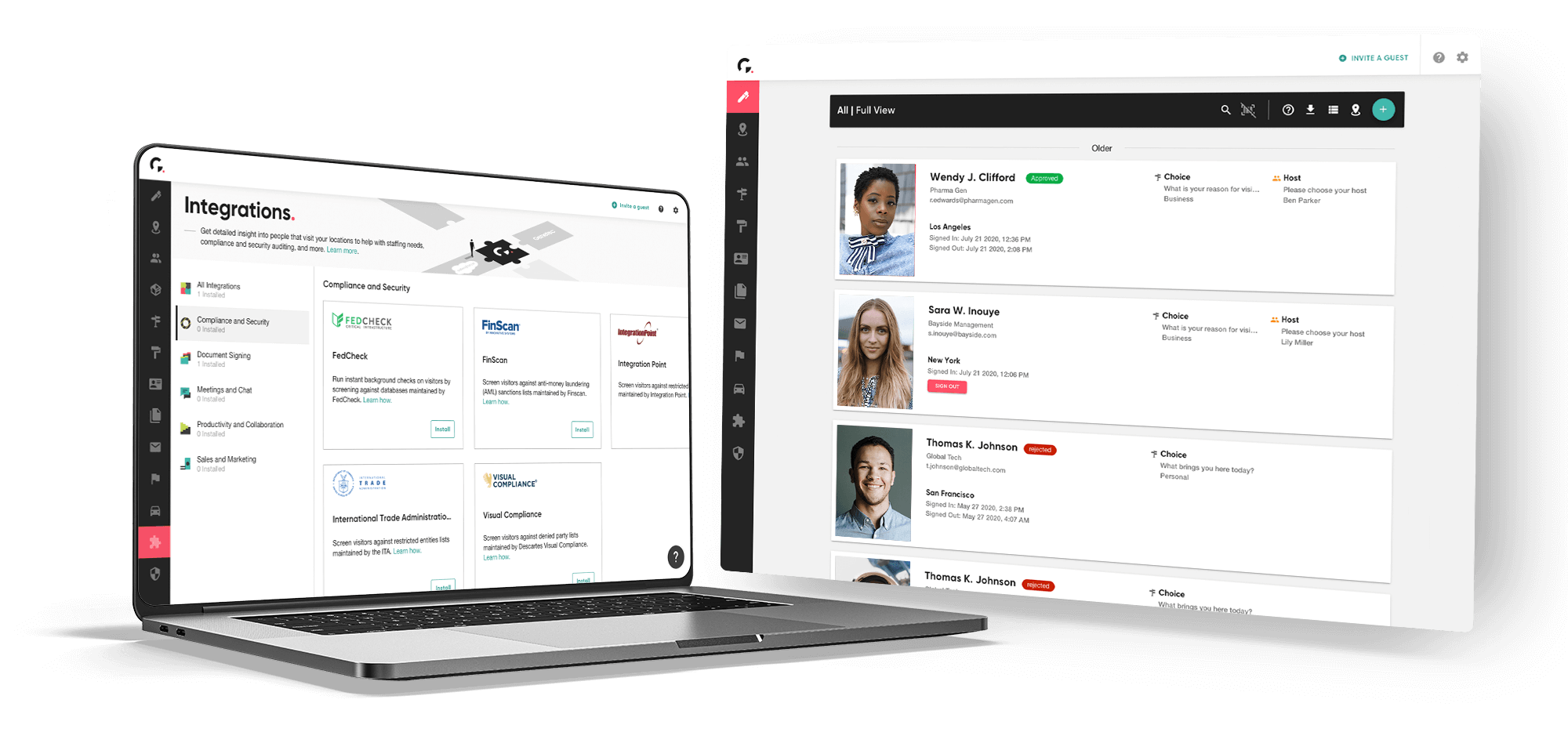 Integrations and Guest book UI