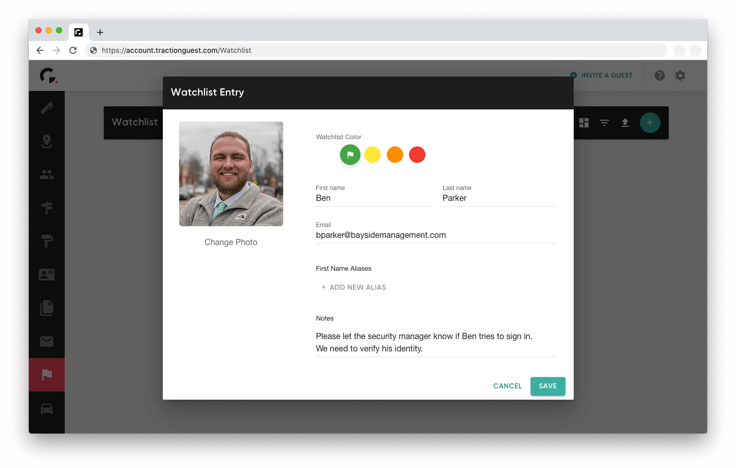 Traction Guest UI on watchlist options